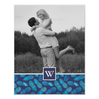 Blue Tie Dye Pineapples | Photo with Monogram Poster