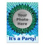 Blue Tiedye Photo Invitations 11 Cm X 14 Cm Invitation Card