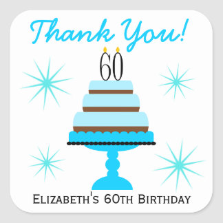 Blue Tiered Cake 60th Birthday Favor Stickers