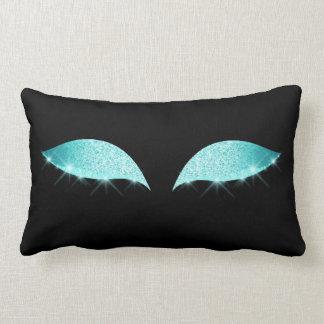 Blue Tiffany Cat's Eye Sleep Glitter Makeup Black Lumbar Pillow