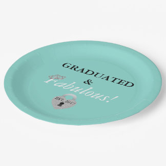 Blue Tiffany Graduation Celebration Paper Plates 9 Inch Paper Plate