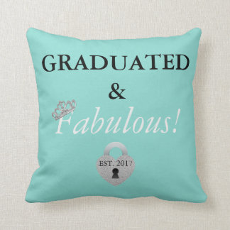 Blue Tiffany Graduation Celebration Throw Pillow