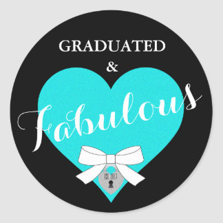 Blue Tiffany Graduation Party Heart Stickers