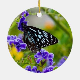 Blue tiger butterfly ceramic decoration round ceramic decoration