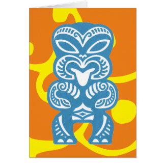 Blue Tiki Good Luck Figure Symbol Greeting Card