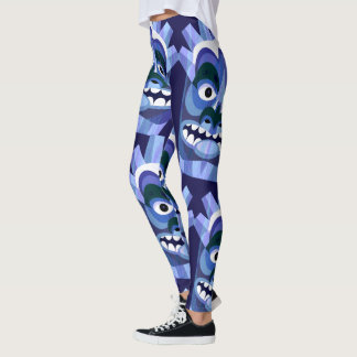 Blue Tiki Head Pattern Leggings