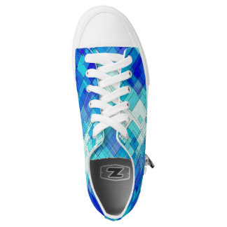 Blue Tile Abstract Low Top Shoe