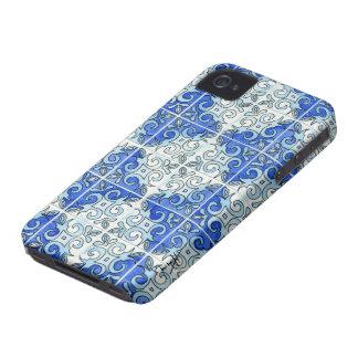 Blue Tile Design 2 - Swirls Case-Mate iPhone 4 Case