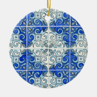 Blue Tile Design 2 - Swirls Christmas Ornament