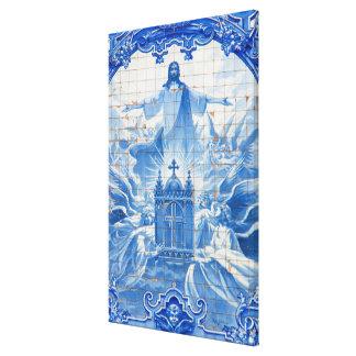 Blue tile mosaic of jesus, Portugal Canvas Print