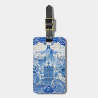 Blue tile mosaic of jesus, Portugal Luggage Tag
