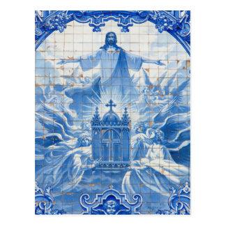 Blue tile mosaic of jesus, Portugal Postcard