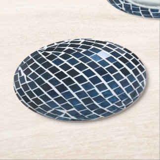 Blue Tile Mosaic Round Paper Coaster