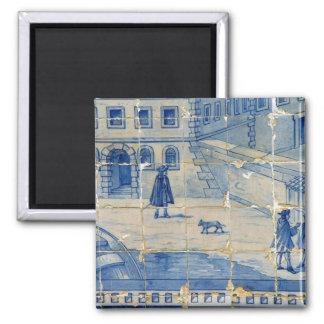 Blue tile refrigerator magnet