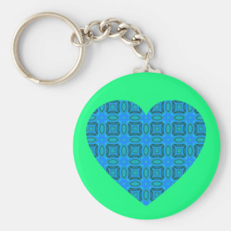Blue Tiled Heart Basic Round Button Key Ring