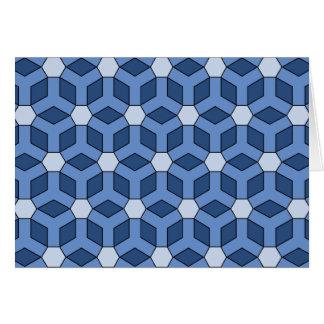 Blue Tiled Hex Greeting Gard Greeting Card