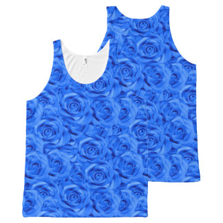 Blue Tiled Roses All-Over Print Tank Top