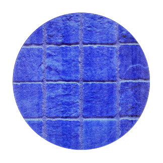 Blue tiles background cutting board
