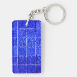 Blue tiles background Double-Sided rectangular acrylic key ring