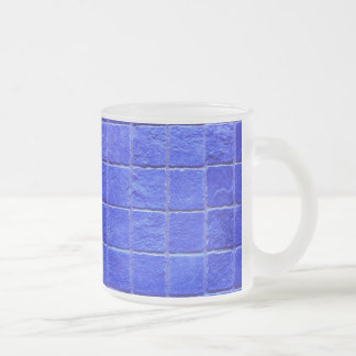 Blue tiles background frosted glass coffee mug