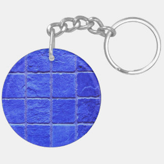 Blue tiles background key ring