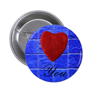 Blue tiles background Love you 6 Cm Round Badge