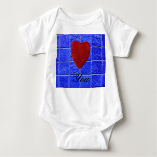 Blue tiles background Love you Baby Bodysuit