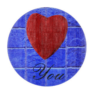 Blue tiles background Love you Cutting Board
