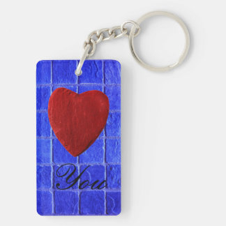 Blue tiles background Love you Double-Sided Rectangular Acrylic Key Ring