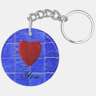 Blue tiles background Love you Double-Sided Round Acrylic Key Ring