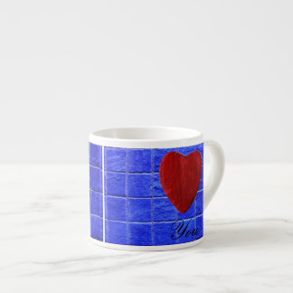 Blue tiles background Love you Espresso Cup