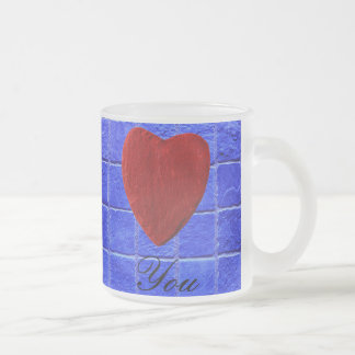 Blue tiles background Love you Frosted Glass Coffee Mug