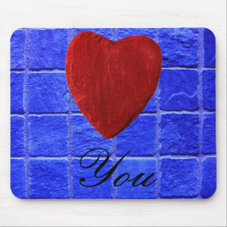 Blue tiles background Love you Mouse Mat