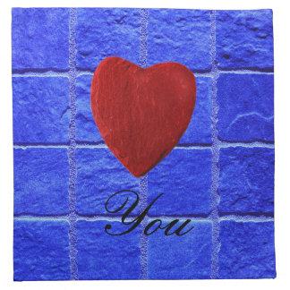 Blue tiles background Love you Napkin