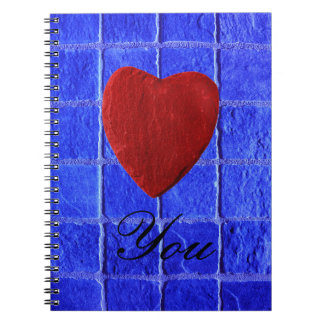 Blue tiles background Love you Notebook