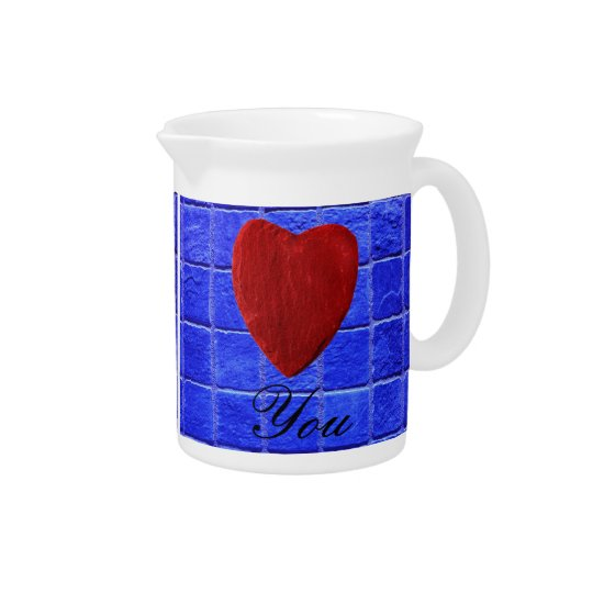 Blue tiles background Love you Pitcher