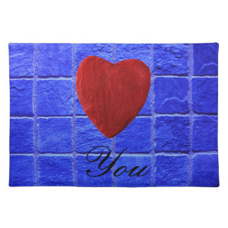 Blue tiles background Love you Placemat