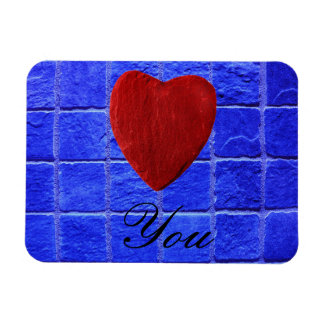 Blue tiles background Love you Rectangular Photo Magnet