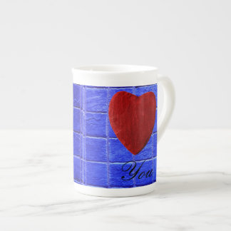 Blue tiles background Love you Tea Cup