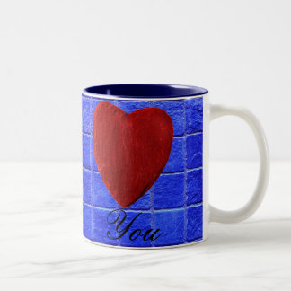 Blue tiles background Love you Two-Tone Coffee Mug