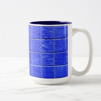 Blue tiles background Two-Tone coffee mug