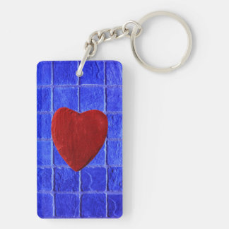 Blue tiles background with heart Double-Sided rectangular acrylic key ring