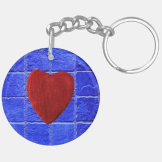 Blue tiles background with heart Double-Sided round acrylic key ring