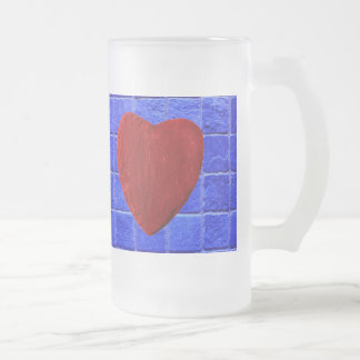 Blue tiles background with heart frosted glass beer mug