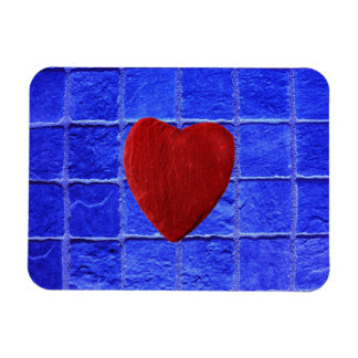 Blue tiles background with heart magnet