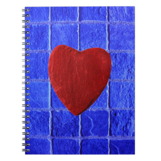 Blue tiles background with heart notebooks