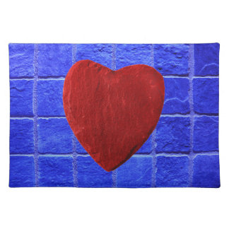 Blue tiles background with heart place mats