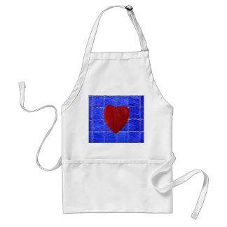 Blue tiles background with heart standard apron