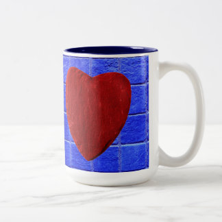 Blue tiles background with heart Two-Tone coffee mug