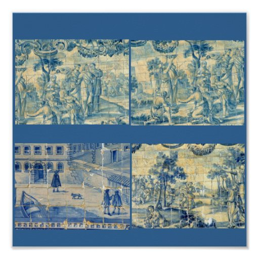 Blue tiles - blue background posters